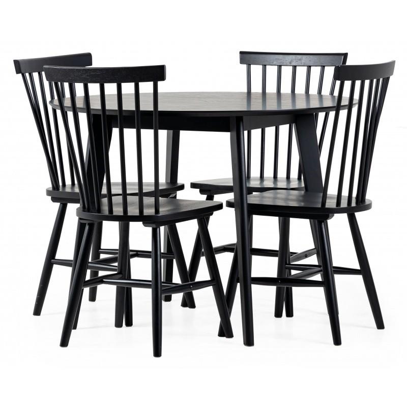 Jedálenský stôl Roxby + 4 jedálenské stoličky Edgardo čierne