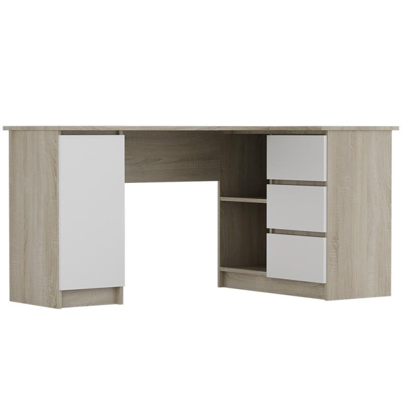 Rohový psací stůl Anna 155 cm dub sonoma/bílý