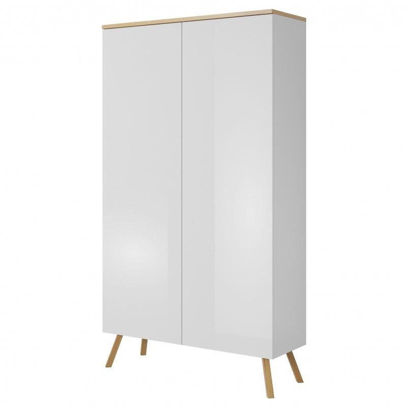 Šatní skříň Butte 102 cm bílá lesklá