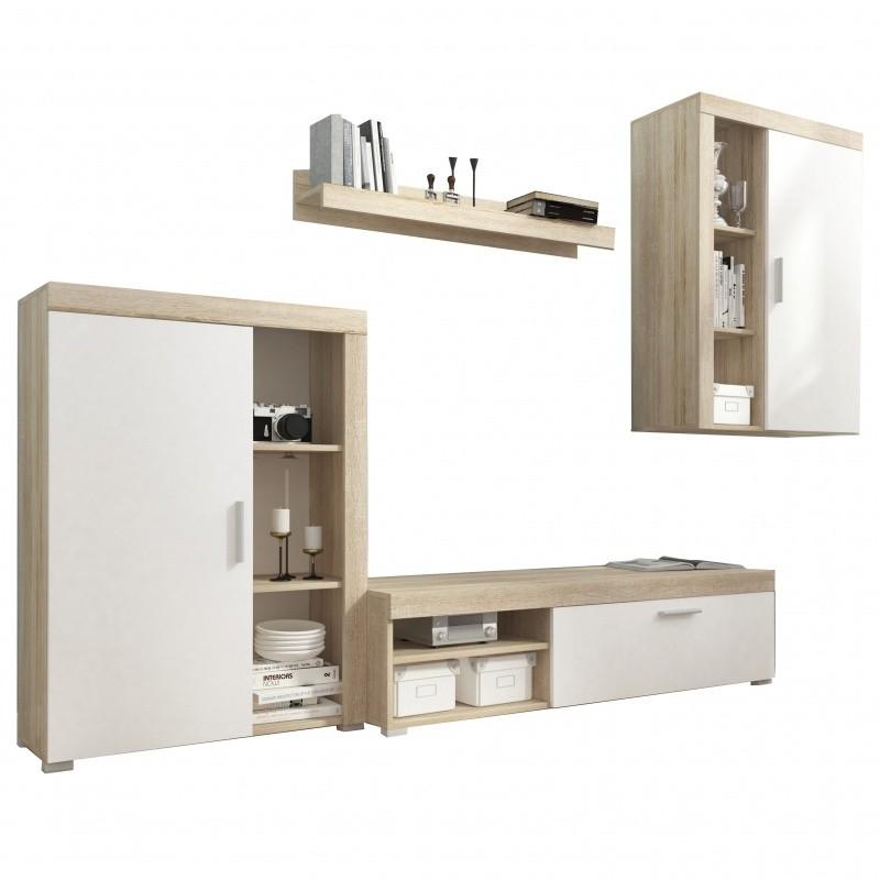 Obývací stěna Lito bílá/dub sonoma