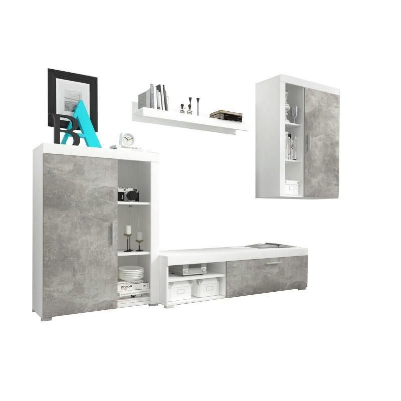 Obývací stěna Lito bílá/beton II
