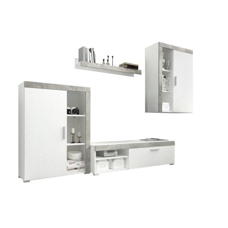 Obývací stěna Lito bílá/beton