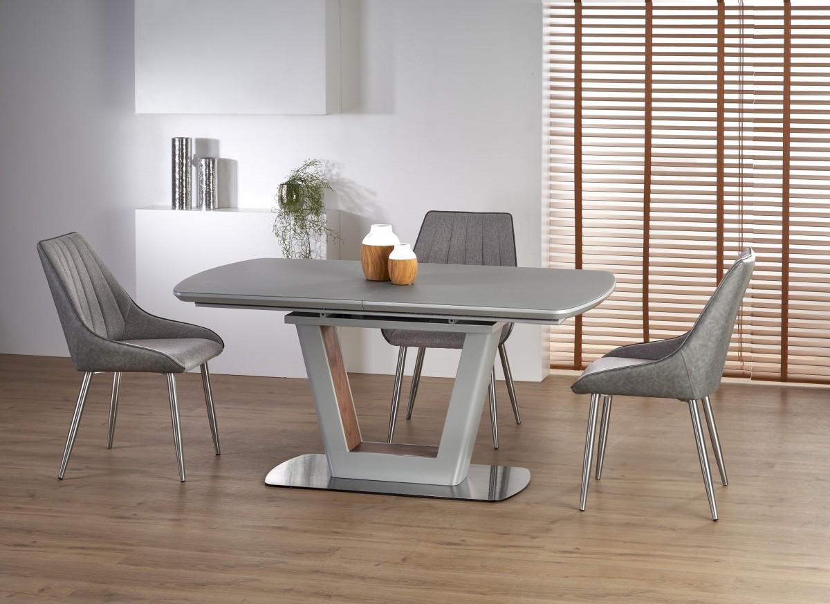 Rozkládací jídelní stůl Bilotti světle šedý mat/ořech