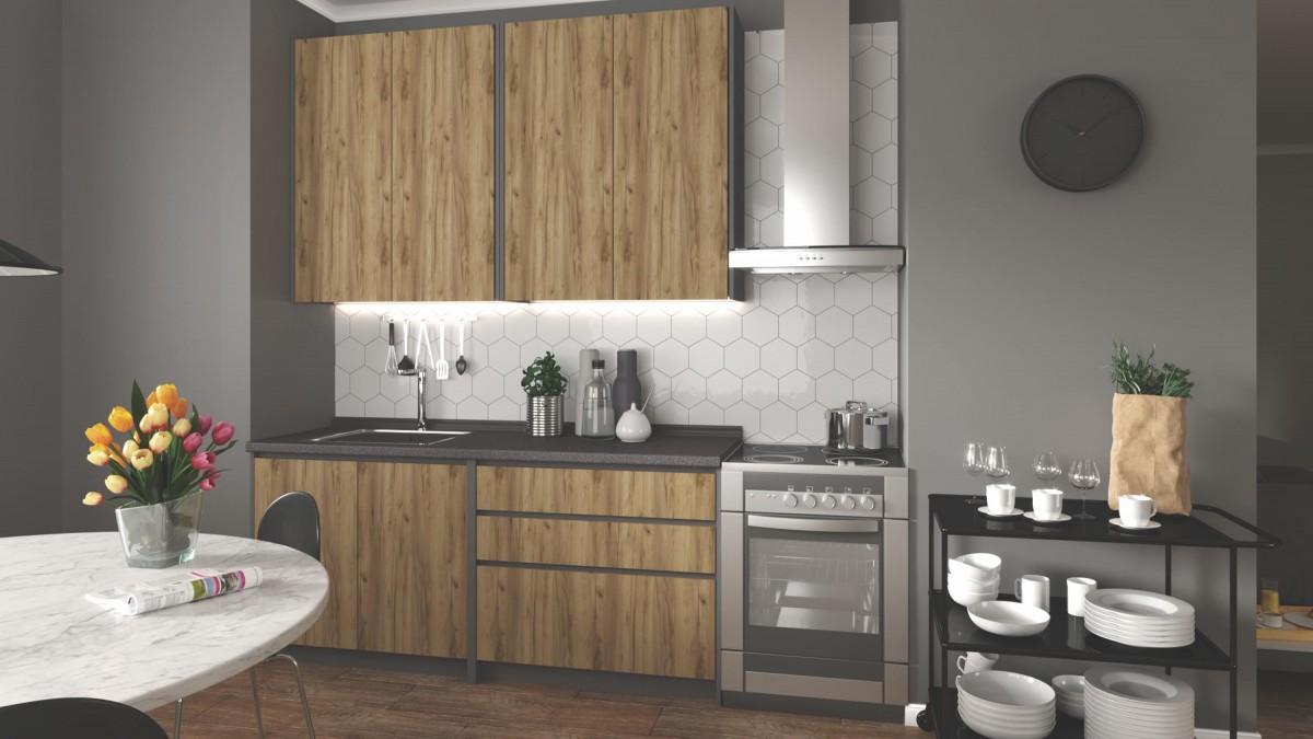 Kuchyňská linka Dena 180 cm antracit/dub wotan