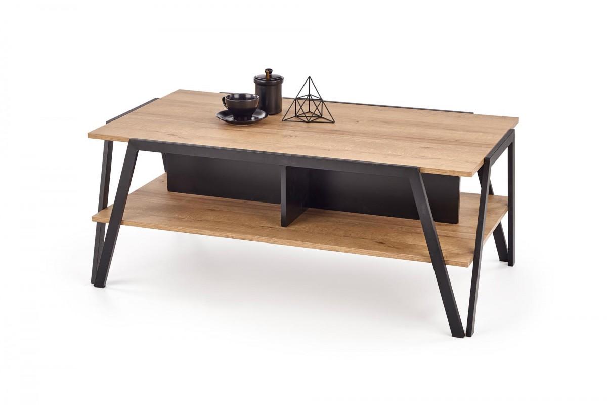 Konferenční stolek Walla dub zlatý/černá