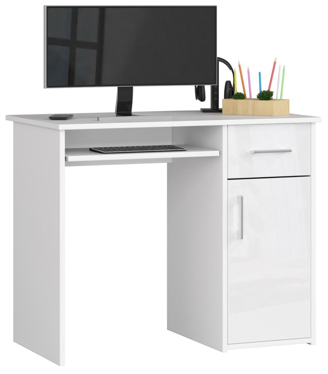 Psací stůl Pin 90 cm bílý lesk
