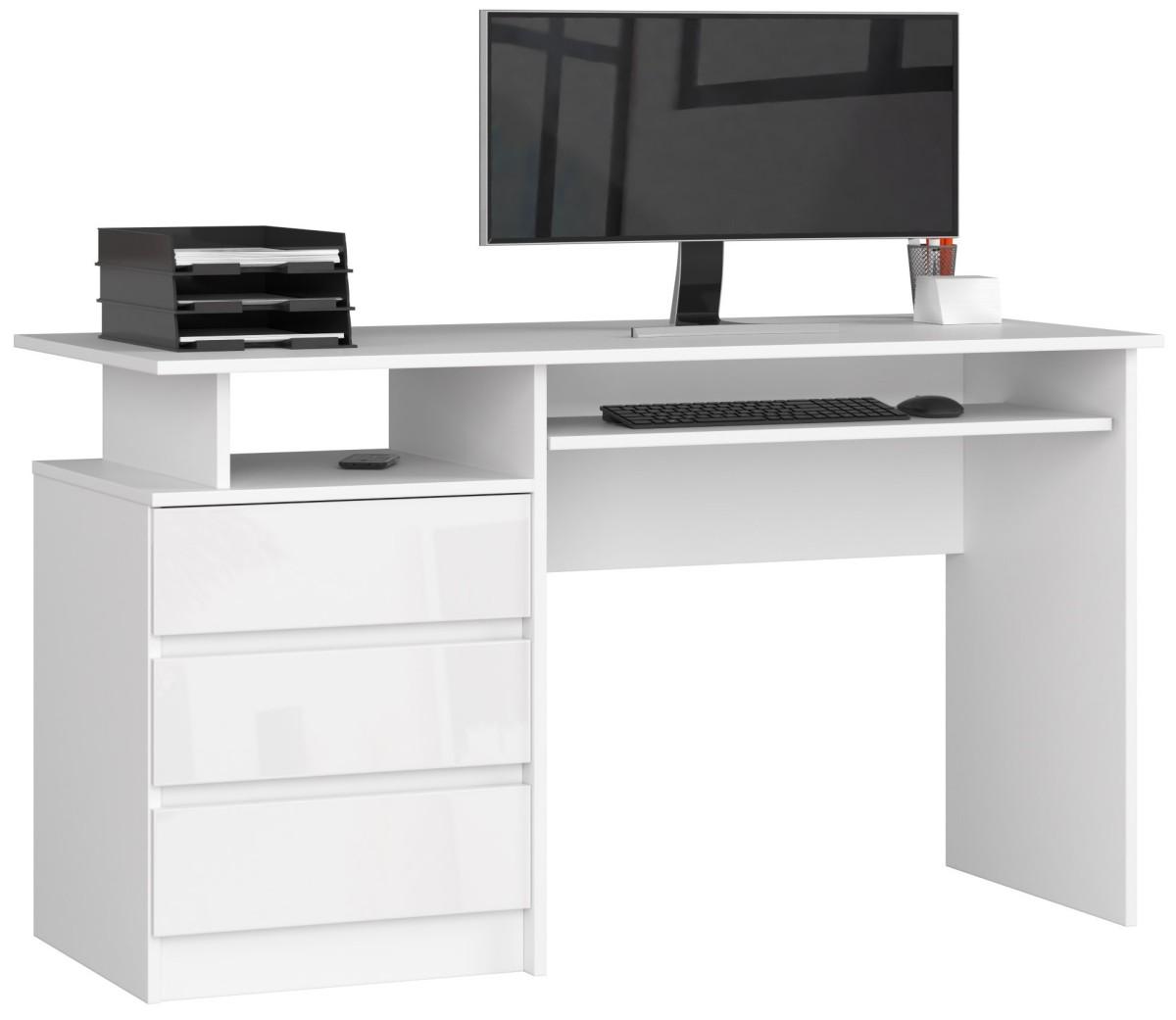 Psací stůl CLP 135 cm bílý akryl vysoký lesk