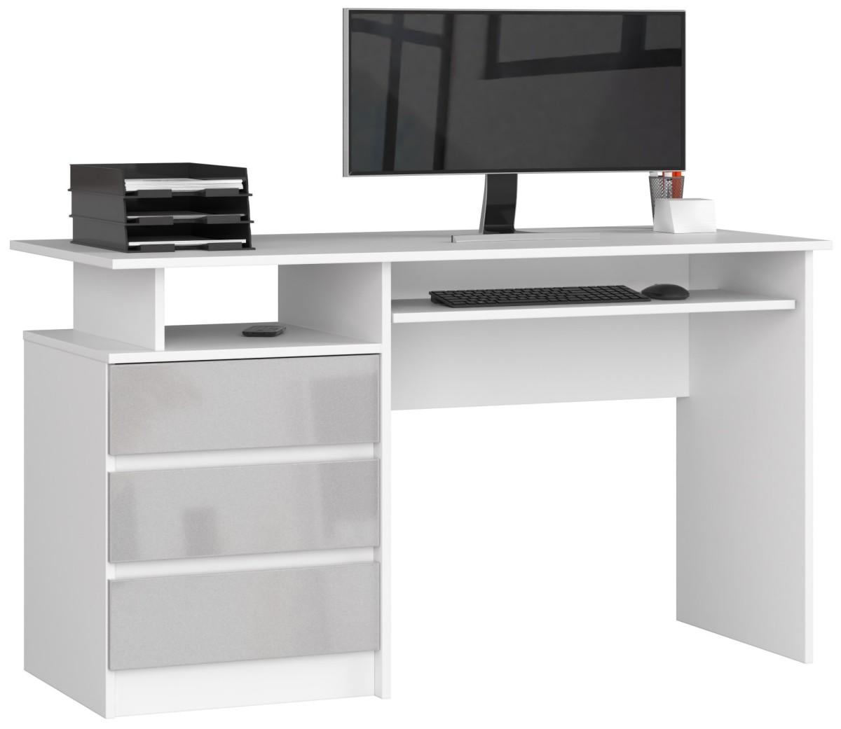 Psací stůl CLP 135 cm bílý/šedý akryl vysoký lesk