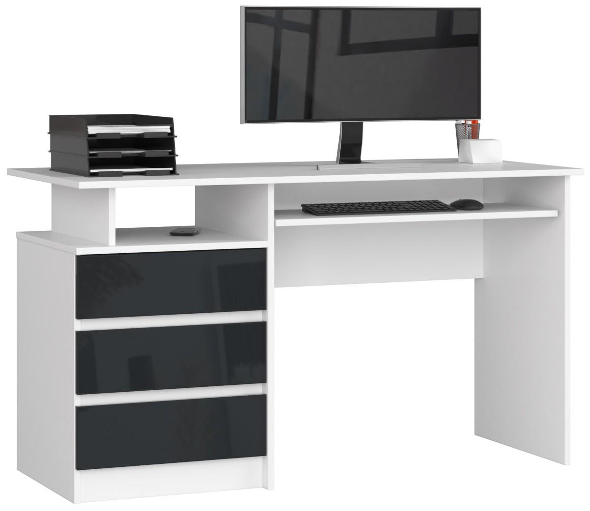 Psací stůl CLP 135 cm bílý/grafitový akryl vysoký lesk