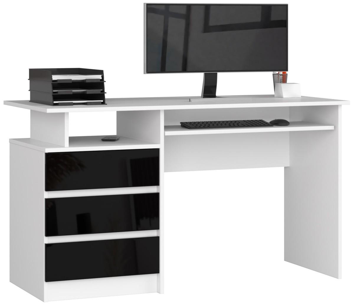 Psací stůl CLP 135 cm bílý/černý akryl vysoký lesk