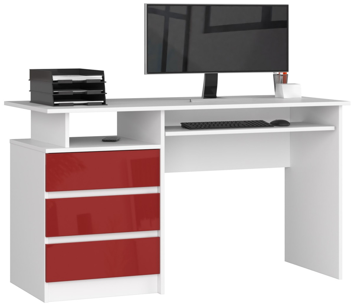 Psací stůl CLP 135 cm bílý/červený akryl vysoký lesk