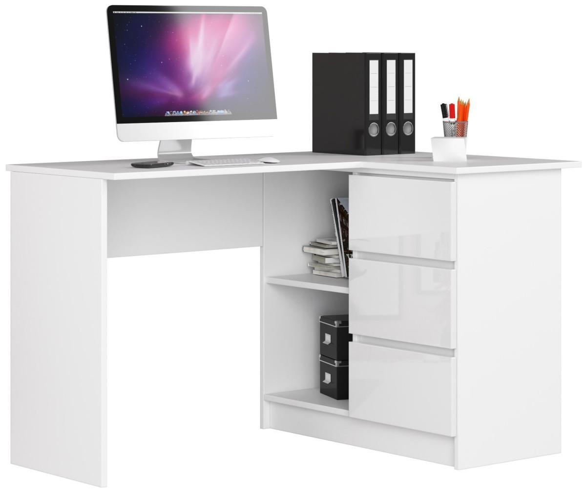 Rohový psací stůl B16 124 cm bílý lesk pravý