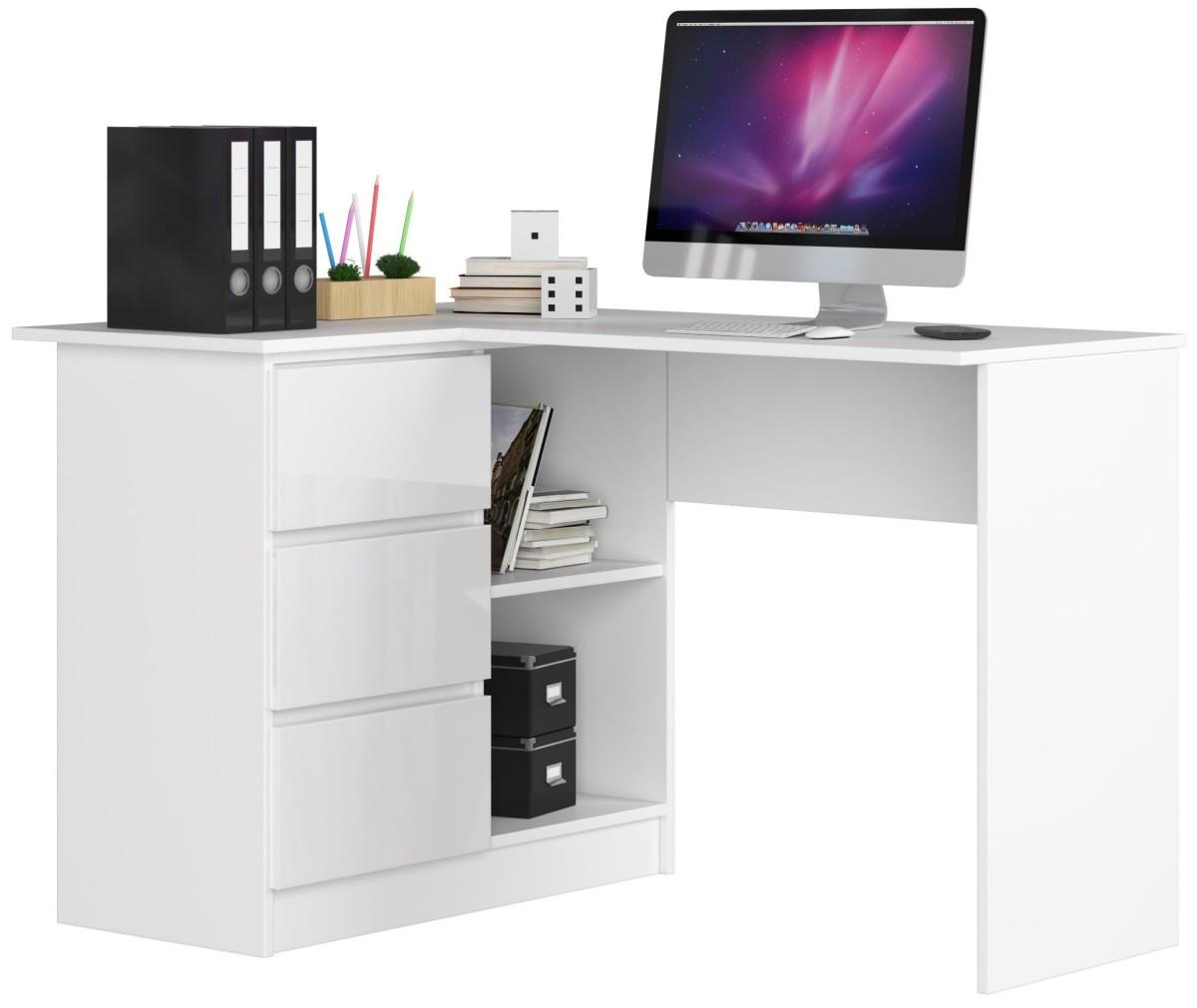 Rohový psací stůl B16 124 cm bílý lesk levý