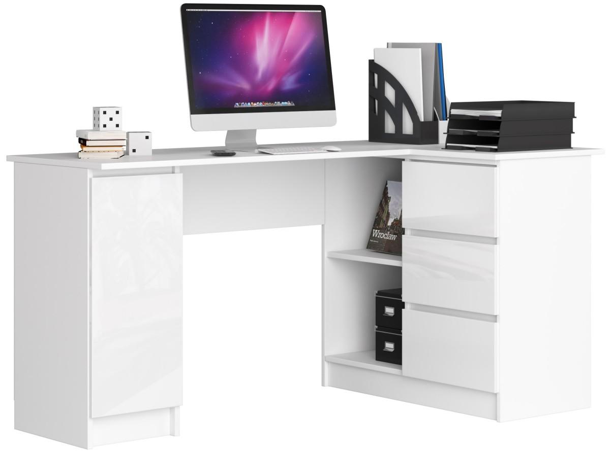 Rohový psací stůl B20 bílý lesk pravý