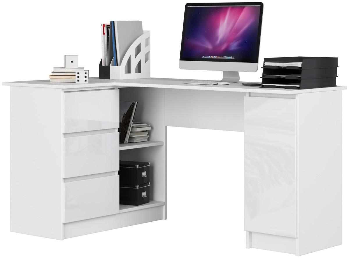 Rohový psací stůl B20 bílý levý lesk