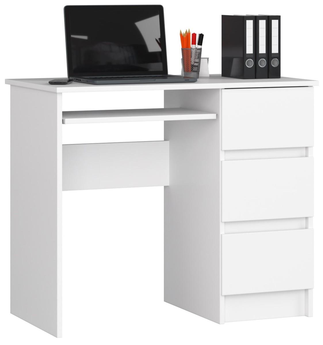 Písací stôl A-6 90 cm biely pravý