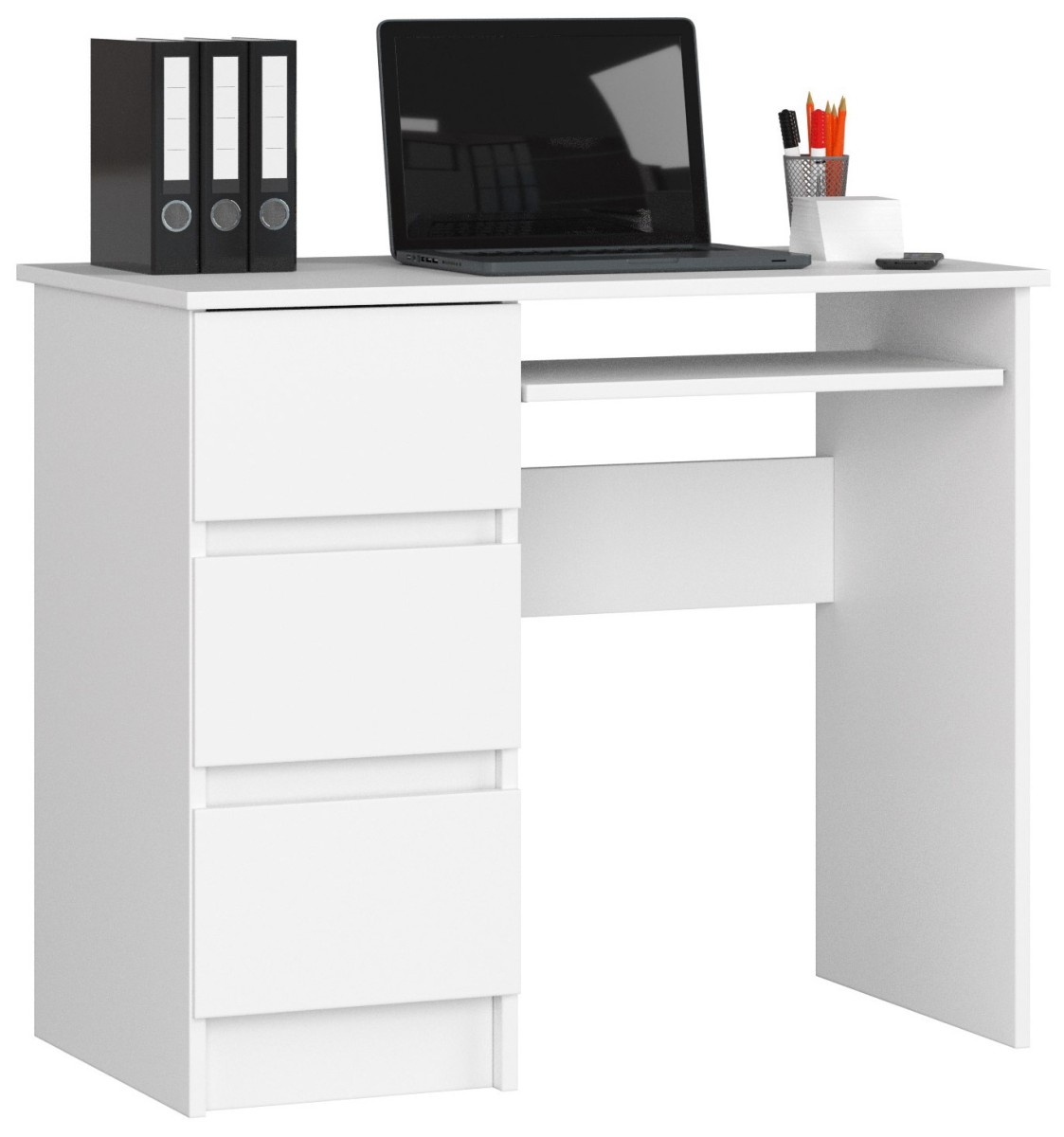 Písací stôl A-6 90 cm biely ľavý