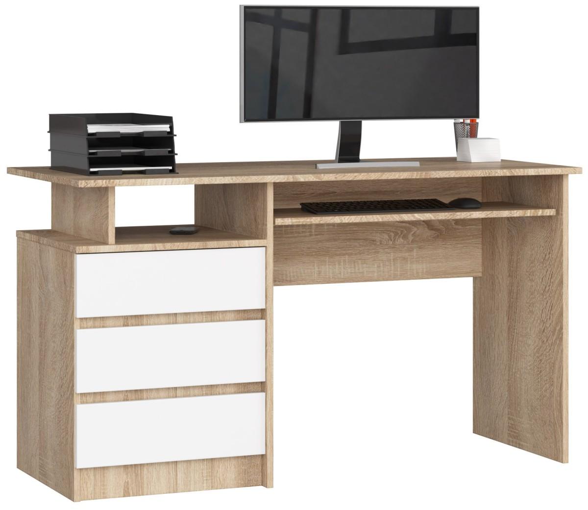 Psací stůl CLP 135 cm dub sonoma/bílý