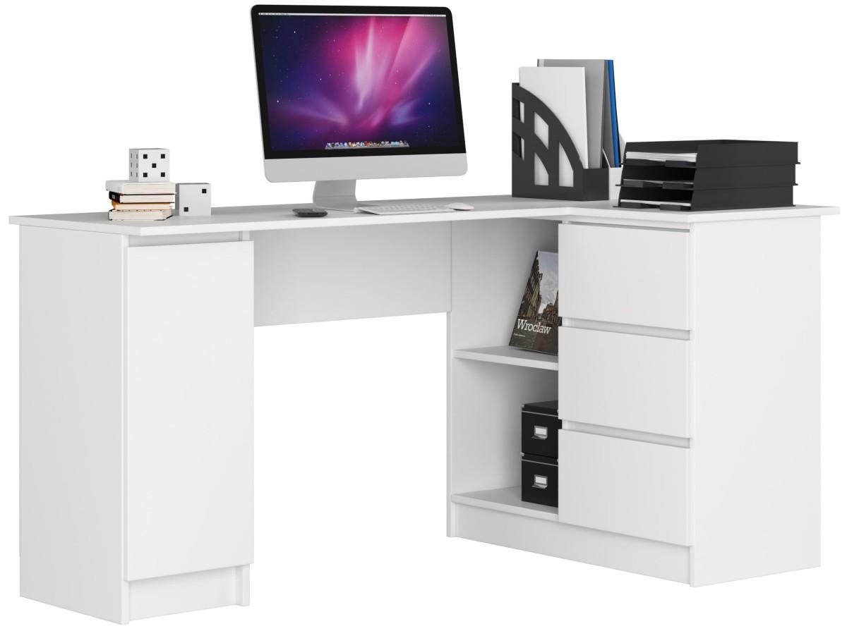Rohový psací stůl B20 bílý pravý