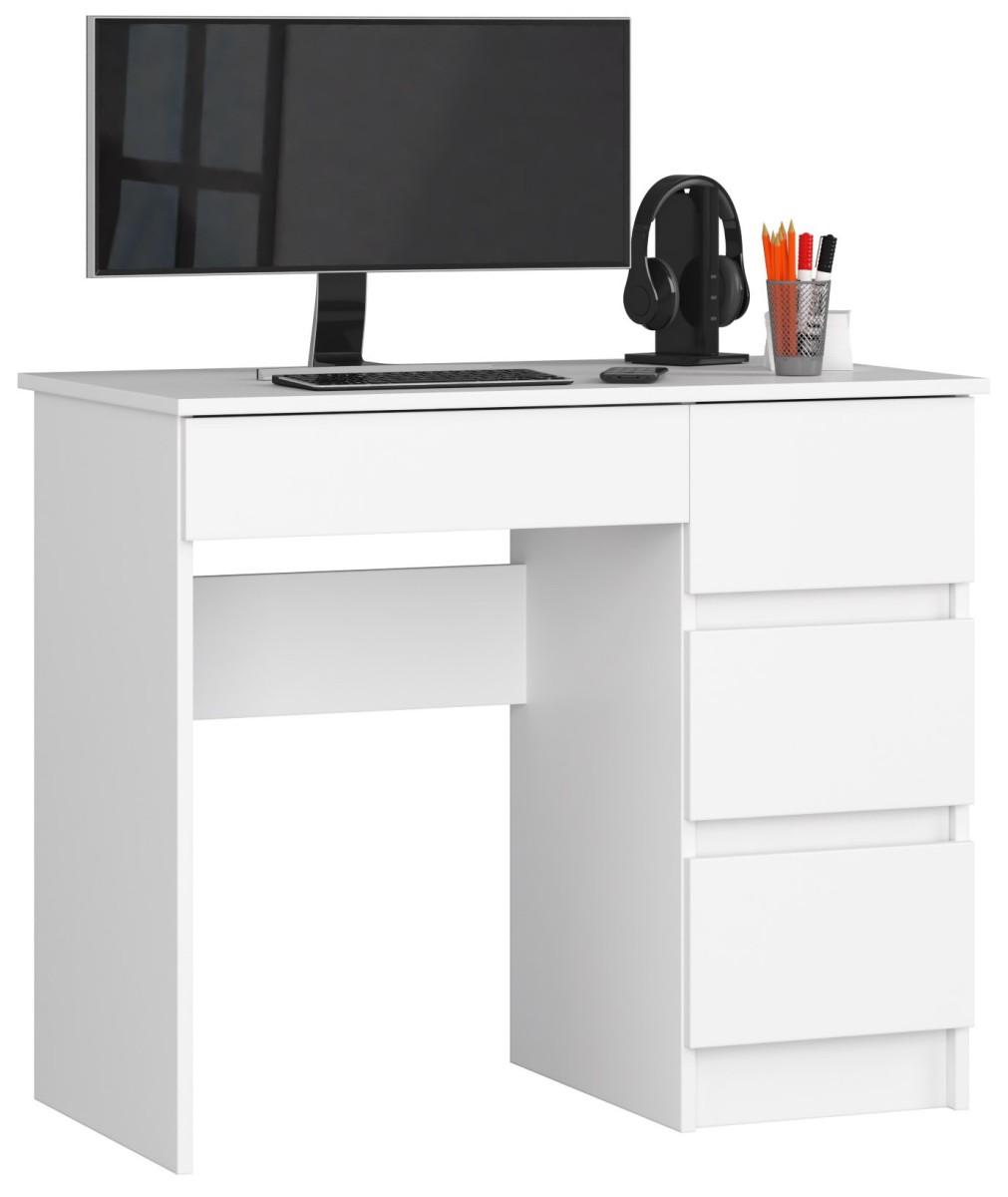 Psací stůl A-7 90 cm bílý pravý