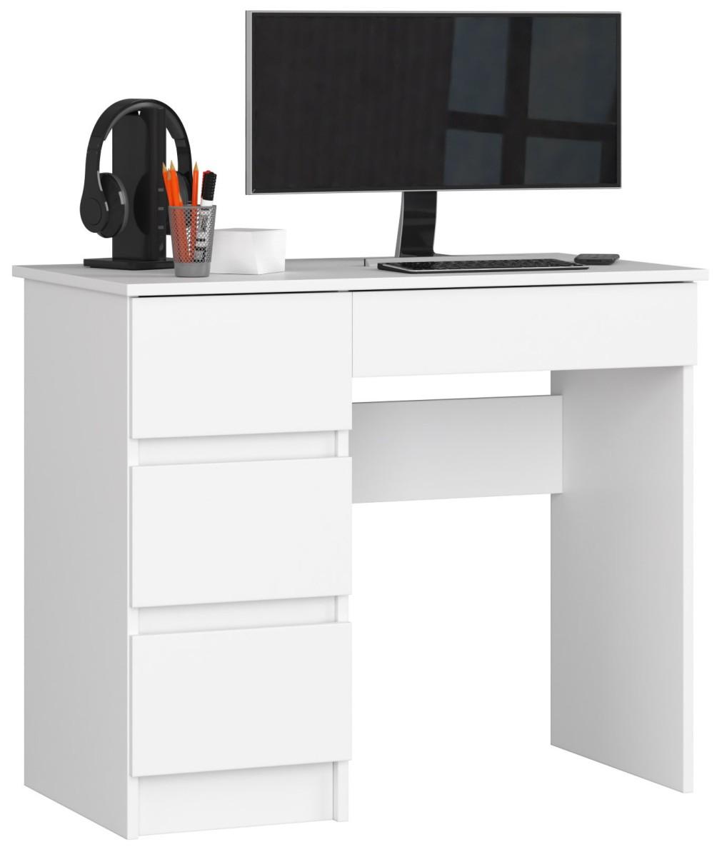 Psací stůl A-7 90 cm bílý levý