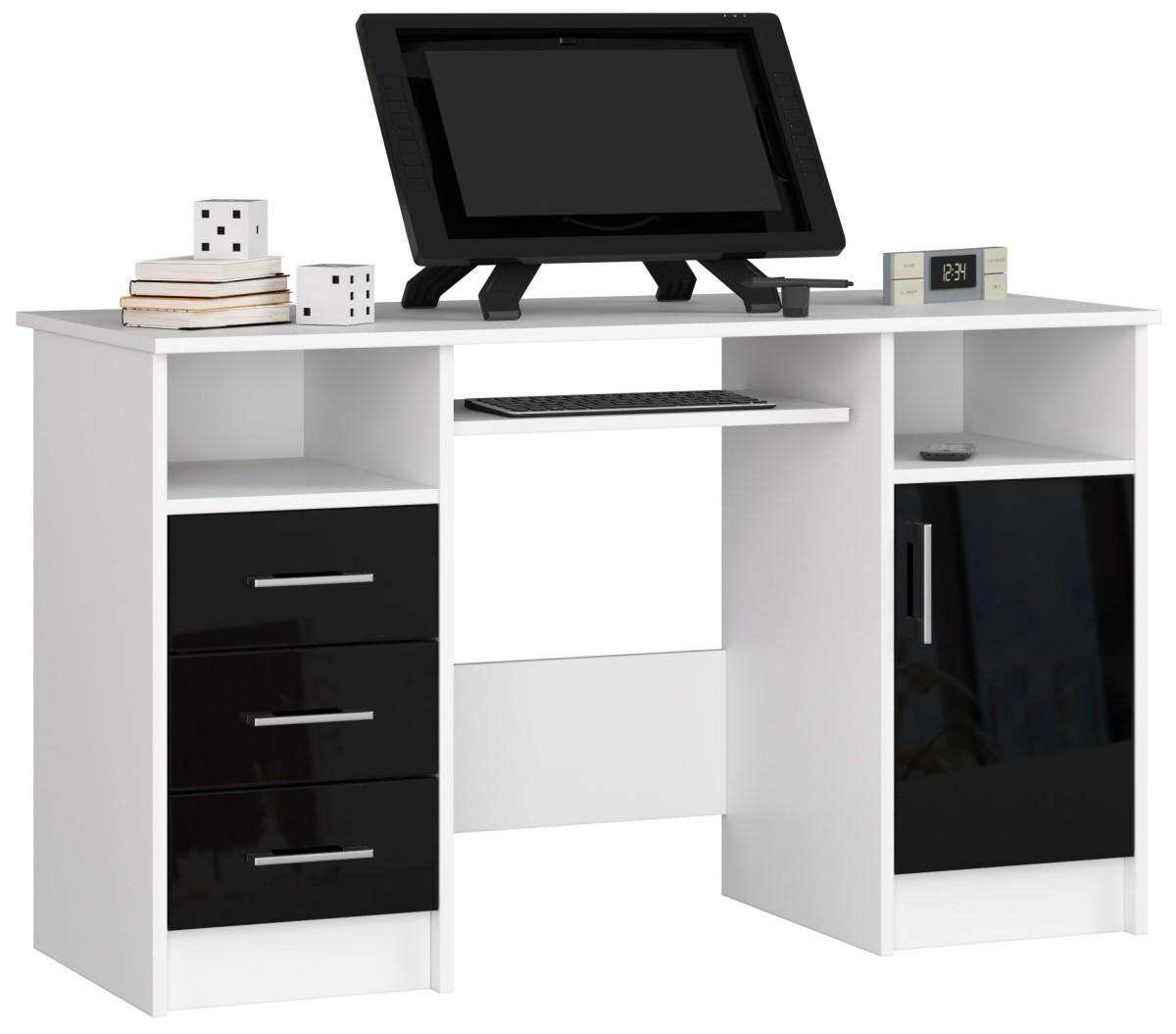 Psací stůl Ana 124 cm bílý/černý - lesk