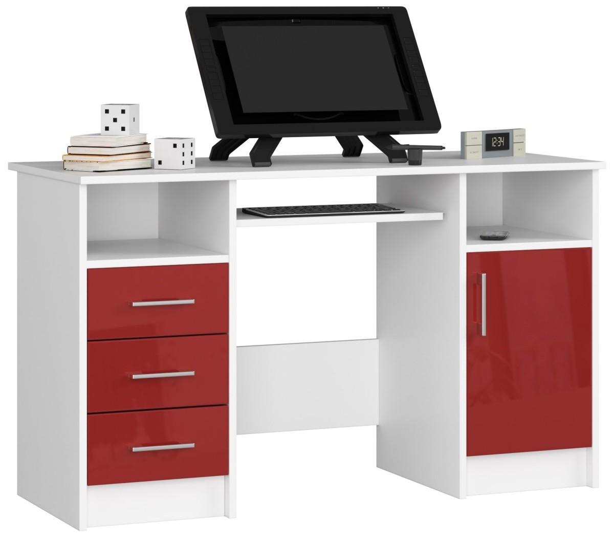Psací stůl Ana 124 cm bílý/červený - lesk