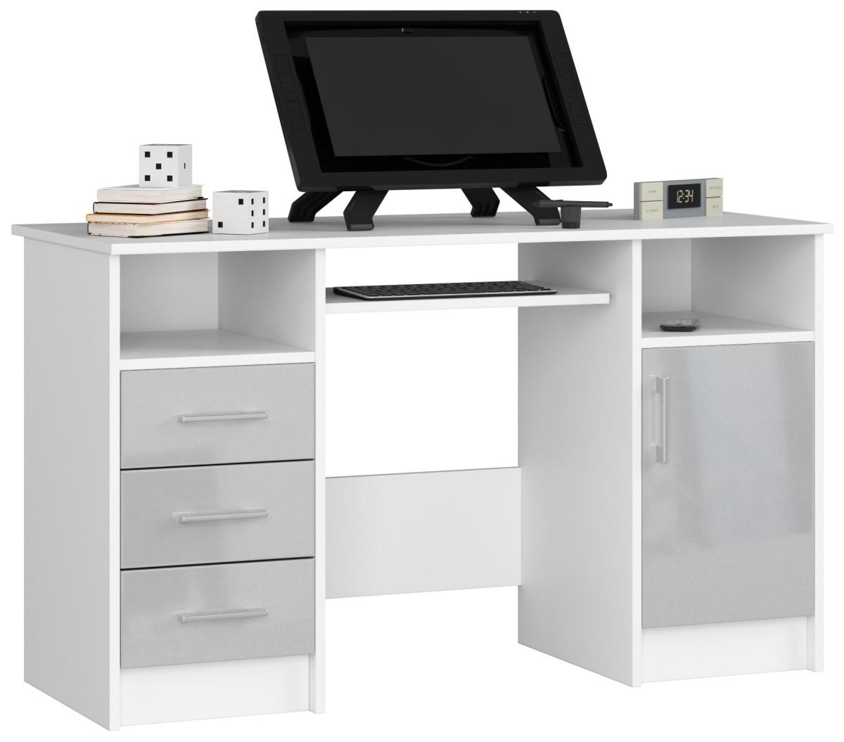 Psací stůl Ana 124 cm bílý/šedý - lesk