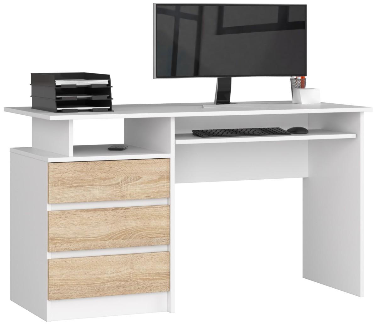 Psací stůl CLP 135 cm bílý/sonoma