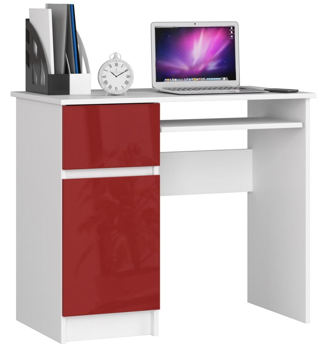 Psací stůl 90 cm Piksel bílý/červený levý