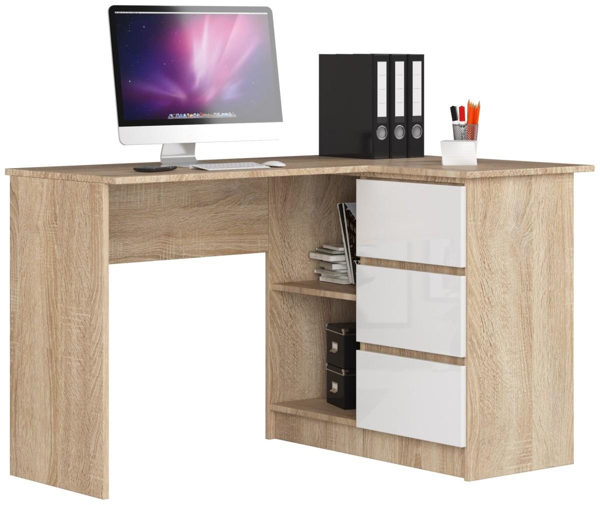 Rohový psací stůl B16 124 cm dub sonoma/bílý lesk pravý