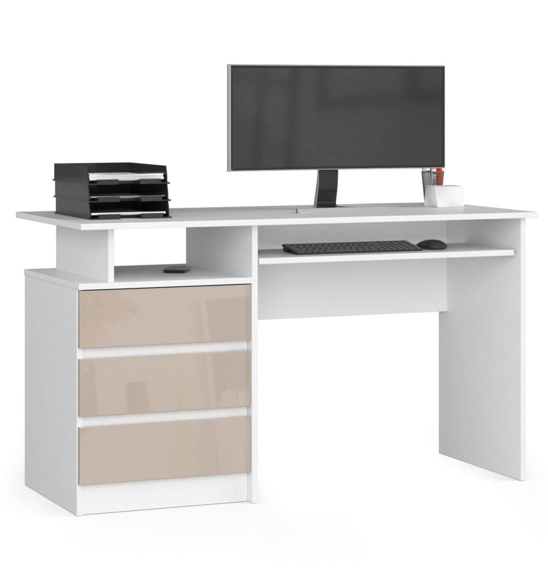 Psací stůl CLP 135 cm bílý/cappuccino lesk