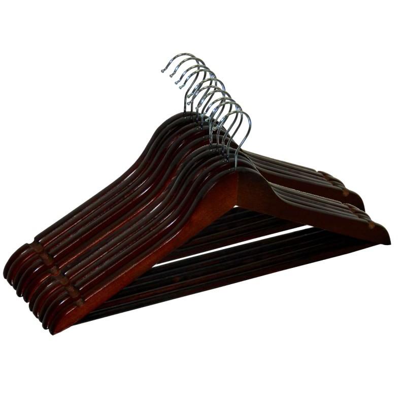 Drevené ramienka RONDO 10 kusov - tmavohnedé