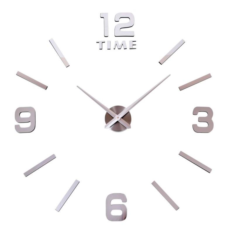 Dizajnové nástenné hodiny Diy BAST 3D strieborné