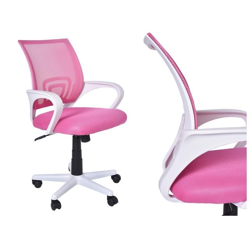 Kancelárska stolička Bianco bielo-ružová