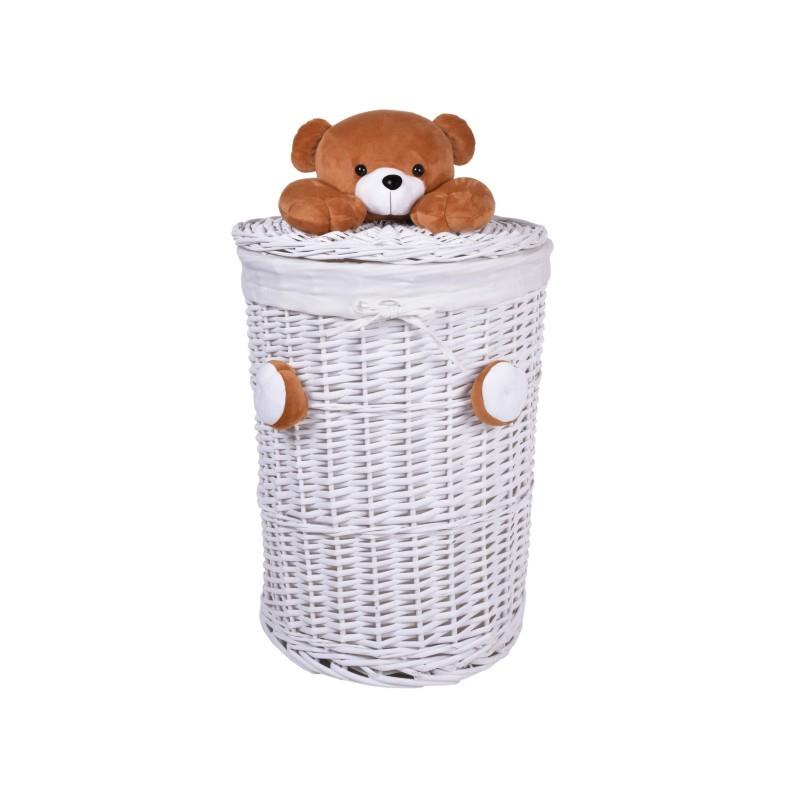 Proutěný koš na prádlo Medvídek 75L