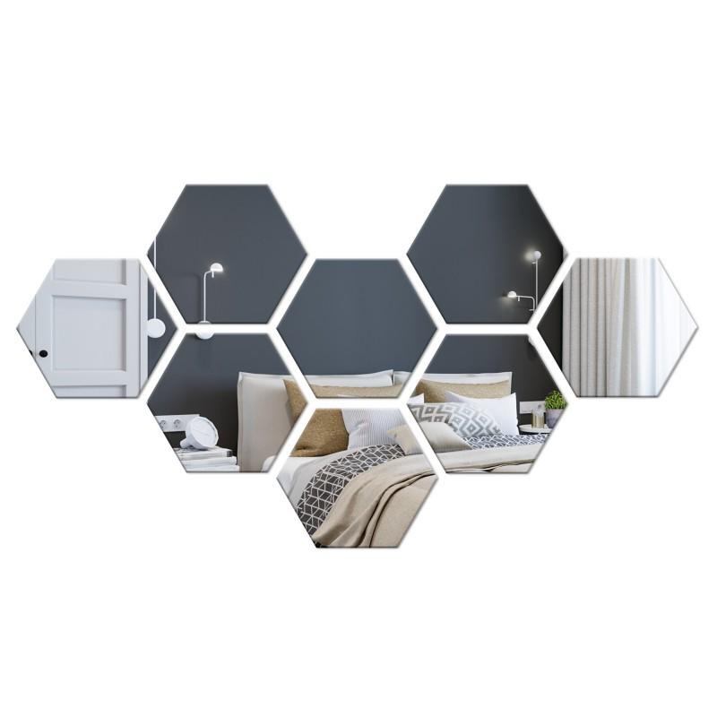 Dekorativní akrylové zrcadlo Hex - stříbrné