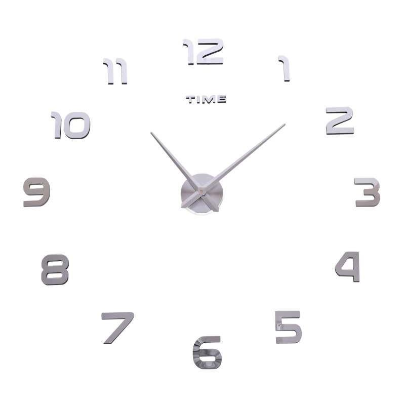 Nástenné hodiny Diy Nepri 65 - 130 cm - strieborné 3D