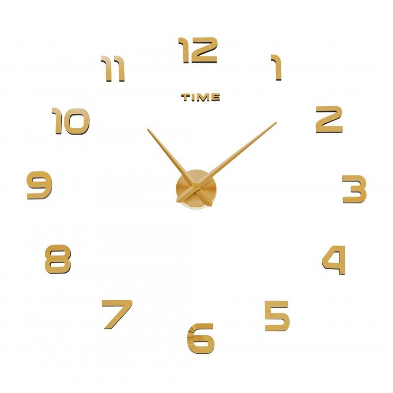 Nástenné hodiny DIY NEPRI 65 - 130 cm - zlaté 3D