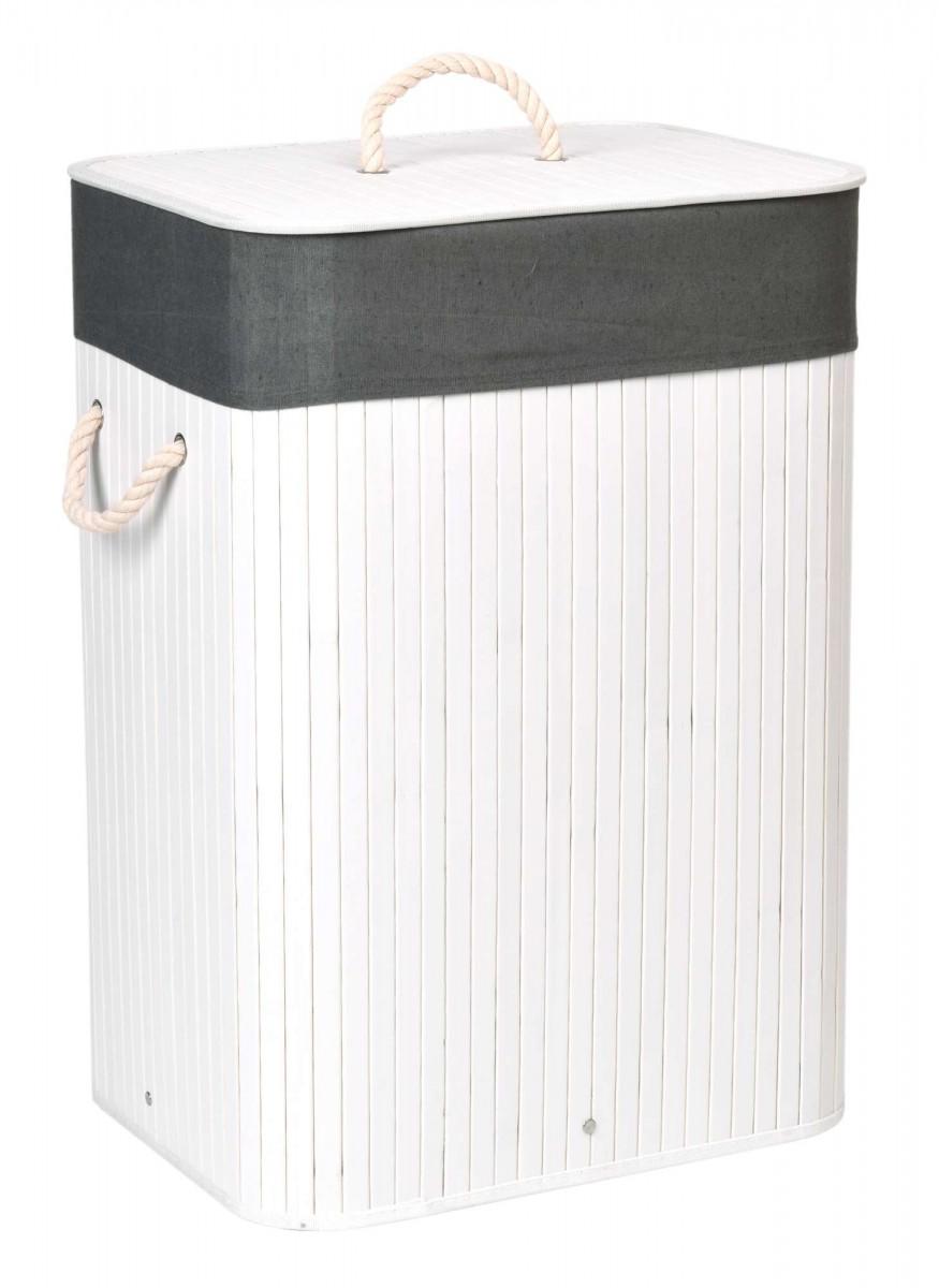 Bambusový koš na prádlo Ylva 80 L bílý/šedý