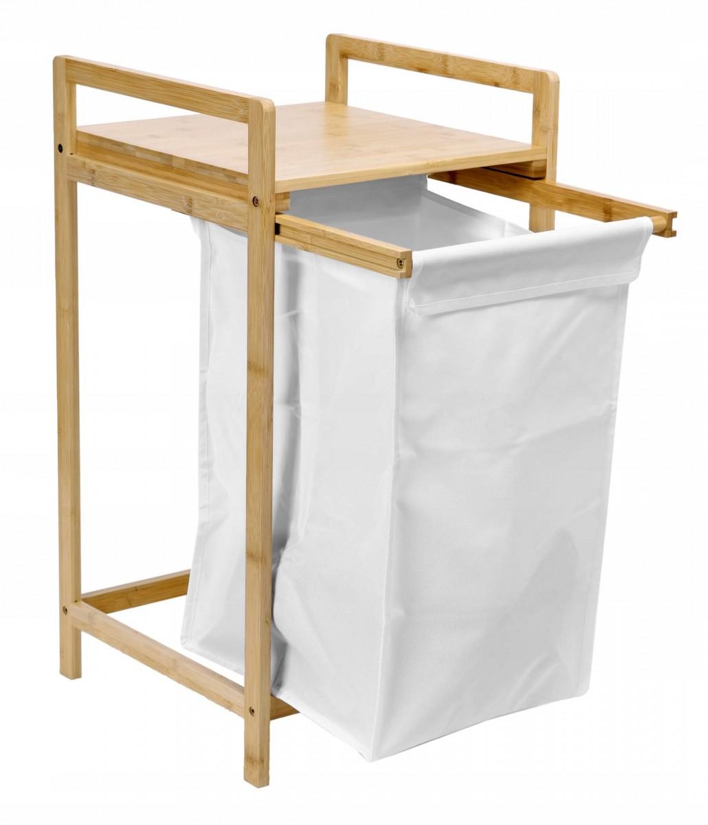 Vysouvací bambusový koš na prádlo HANOI hnědo-bílý