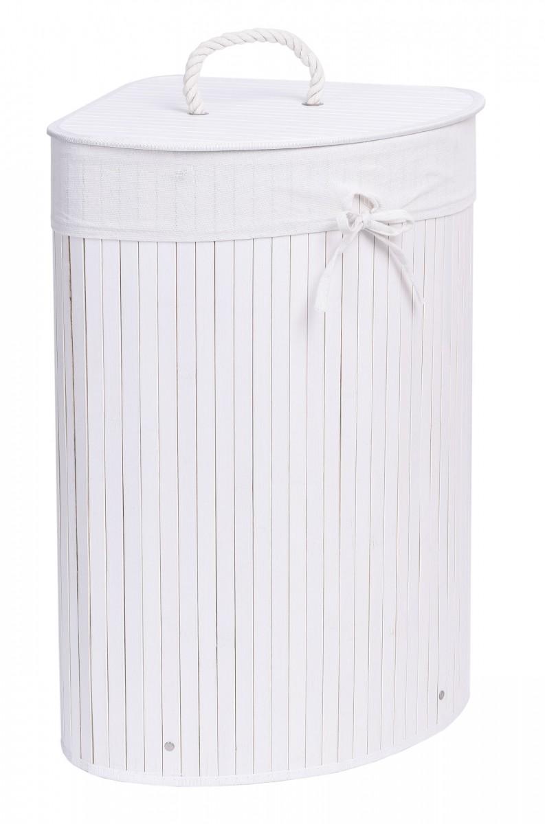 Bambusový koš na prádlo 60 L bílý