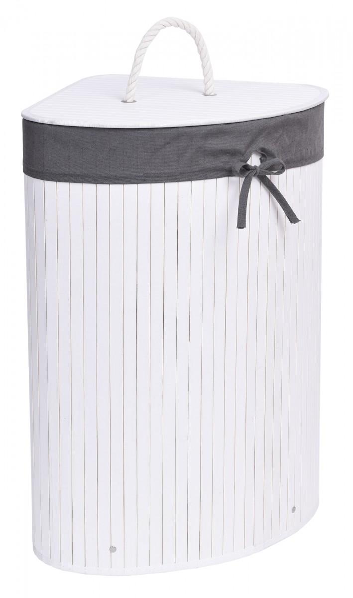 Bambusový koš na prádlo 60 L bílý/šedý
