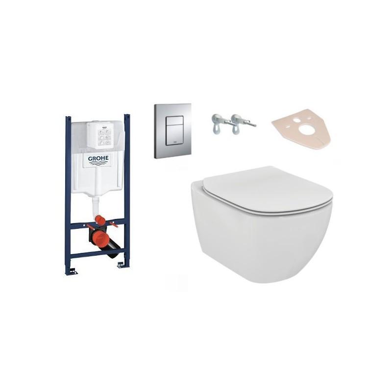 Súprava podomietkový modul GROHE 4 v 1 + závesná WC misa TESI + doštička
