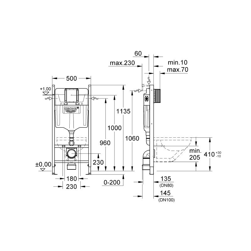 Súprava podomietkový modul GROHE + závesná WC misa MEXEN LENA + doštička duroplast