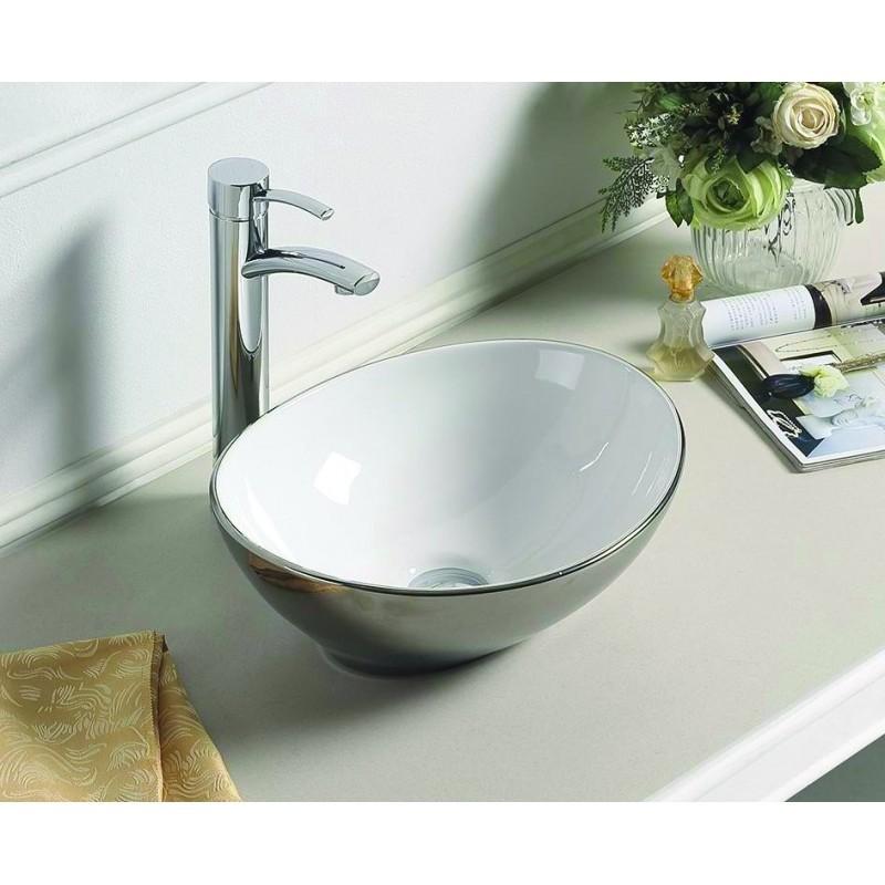 Keramické umyvadlo na desku MEXEN ELZA stříbrno-bílé 40 CM