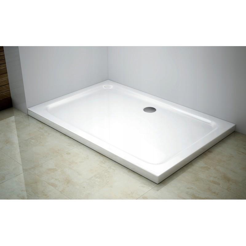 Obdelníková sprchová vanička MEXEN SLIM bílá, 110 x 100 cm + sifon