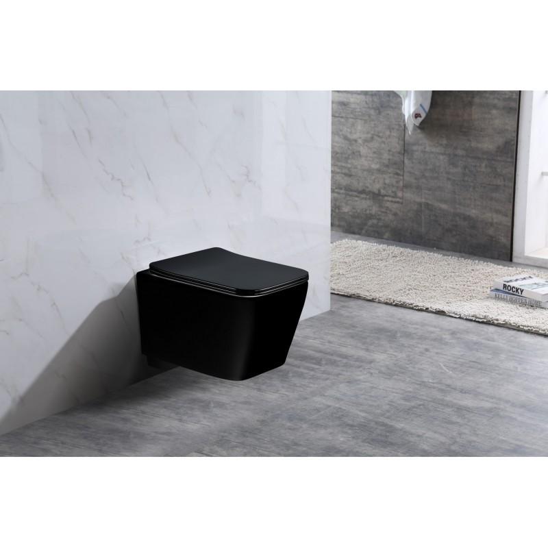 Závěsná WC mísa MEXEN TEO + prkénko SLIM černá
