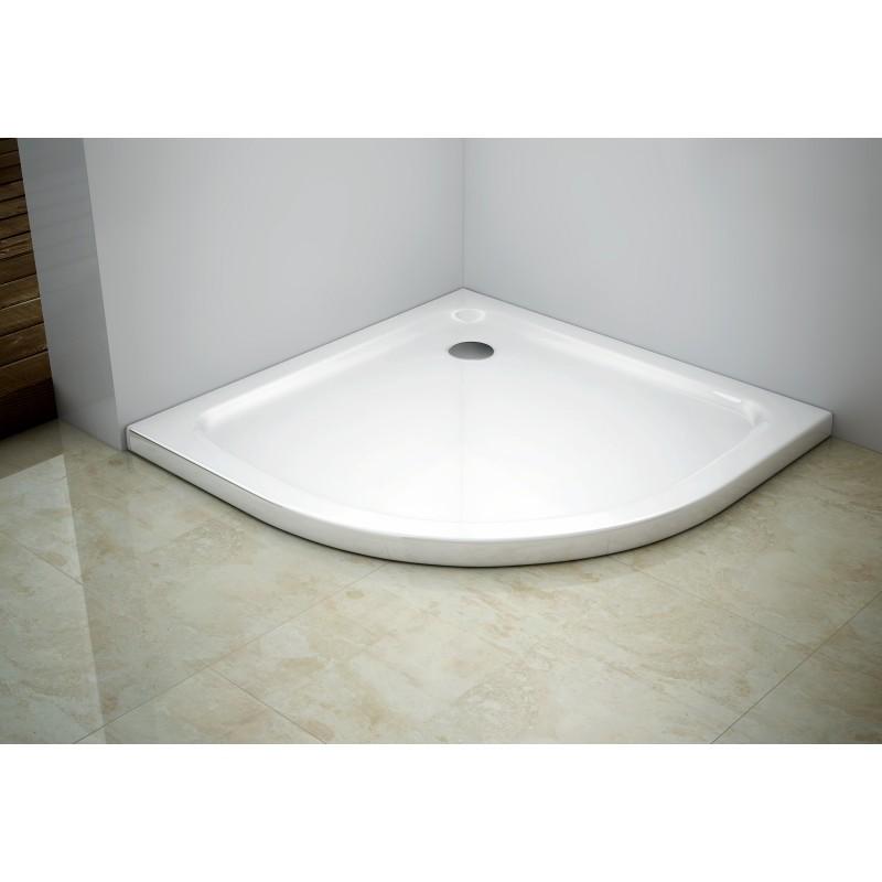 Sprchová vanička MEXEN SLIM polokruhová, bílá, 80 x 80 cm + sifon