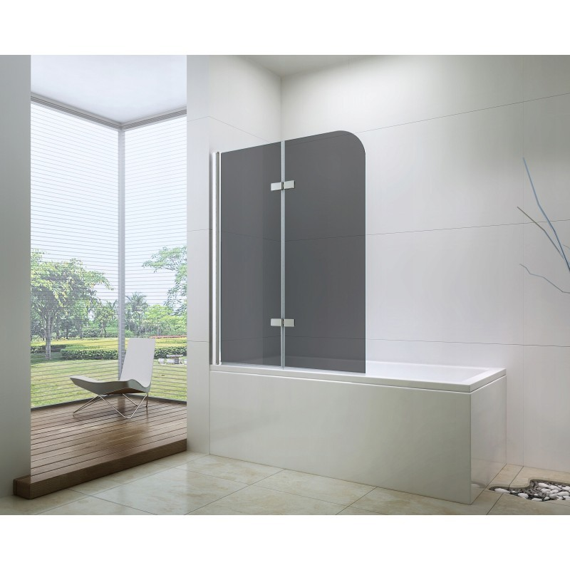 Sprchová zástěna na vanu MEXEN FELIX dvoukřídlá, šedé sklo, 70x140 cm
